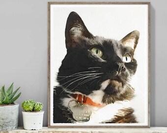 Watercolor Pet Portrait / Christmas Gift / Digital Watercolor / Tuxedo Cat Illustration, Pet Painting ▷ Canvas Sign, Paper {or} Printable