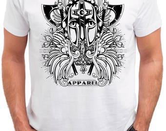 Knight Helmet. Men's white cotton t-shirt