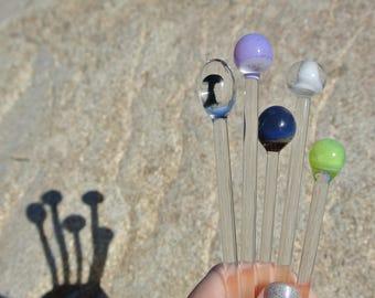 Handblown glass swizzle sticks