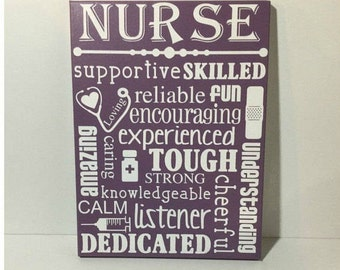 Nurse gift - painted canvas sign - gift for nurses - RN gift - nurse sign - nurse appreciation gift - gift for RN - nurse major gift