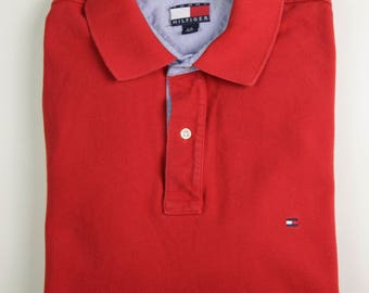 Red Tommy Hilfiger Polo Shirt, Size Large