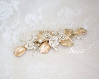Bridal Pearl Hair Comb, Gold Leaf Bridal Hair Comb, Gold Leaf Headpiece, Flower Hair Piece, Wedding Headpiece, Bridal Hair Comb- SARRA