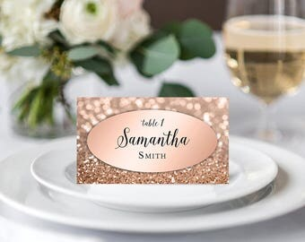 DIGITAL Rose Gold Wedding Place Cards Printable Escort Cards Personalized Name Cards Rose Gold Wedding Seating Cards Rose Pink Glitter Cards