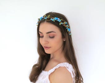 Blue Vine Flower Crown Wreath
