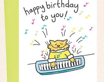 Cat Birthday Card Funny Cat Birthday Card Cat playing keyboard