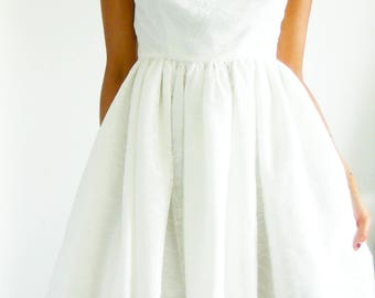 Hand made chantilly lace boat neckline dress, Ivory lace dress, White lace dress, White lace sun dress, Lace dress, Skater dress