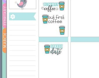 HM10 ~ Coffee Planner Stickers for Erin Condren Life Planner, stickers for Happy Planner, coffee date stickers, doodle coffee stickers