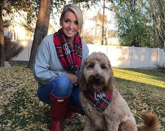 Mom Loop Scarf and Dog Bandana. Tartan plaid personalized matching set. Beautiful, soft cozy red Stewart kilt flannel. Fun Holiday selfies