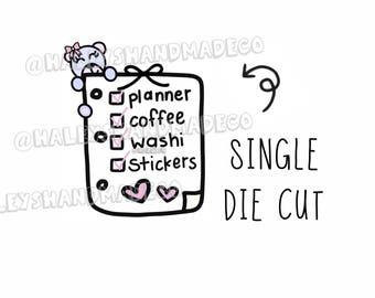 Teddy Planner Checklist Die Cut