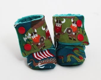 Children slippers, Stay-on booties, Vikings, Boats, Dragon, Teal, Red, Blue, Minky, Cotton, Toddler boots, Shower gift, Newborn, Kid shoes