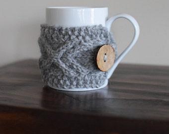 Mug Cozy, Mug Cosy, Knitted Cup Cozy, Tea Cozy Grey, Knit Mug Cozy, Tea Cosy, Cup Warmer, Coffee Mug Cozy