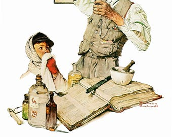 """The Druggist and Sport Post Covers painted by Norman Rockwell in 1939. The page is approx. 11 1/2 """" wide and 15"""" tall."""