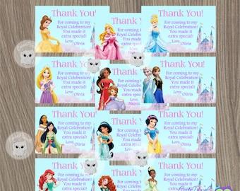 Disney Princess Thank You Tags, Princess Thank You Notes, Disney Princess Party, Diney Princess Birthday, Disney Princess Favor Tags