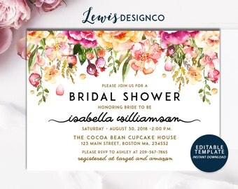 Instant Digital Download File PDf |Bridal Shower Invitation | Watercolor bridal shower invite | floral bridal shower invite