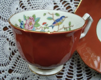Aynsley Rosewood Red Petal Embossed with Pembroke Bird - Fine English Bone China - Vintage Tea Cup and Saucer