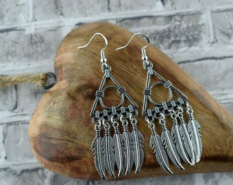 Bohemian silver earrings, Feather earrings, Long earrings, Gift for her, Stocking filler, Secret santa gift, Statement earrings
