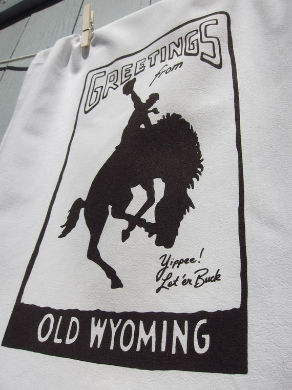 Greetings from Old Wyoming - Wyoming Souvenir Tea Towel with Free Shipping