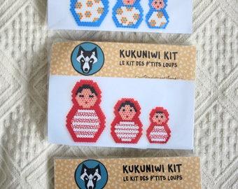 Kit créatif perles Hama // Kukuniwi kit, le kit des p'tits loups // Fabrique tes matriochkas en perles à repasser // Kit créatif enfant
