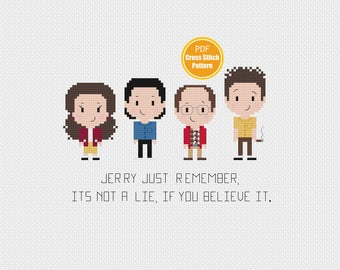 Seinfeld Cross Stitch Pattern - 90s - PDF Instant Download - Seinfeld Cross Stitch - George Costanza - Kramer