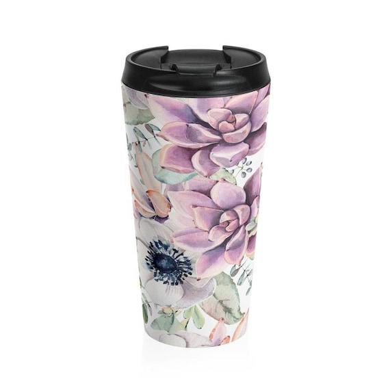 Travel Mug Succulents Pattern Stainless Steel Tumbler