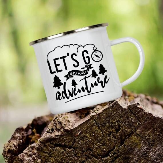 Camp Cup Let's Go on an Adventure - Enamel Camp Mug - Dishwasher Safe