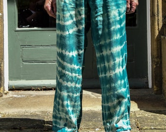 Mens Shibori Linen Trousers - Jade Green Upcycled M&S Linen Chinos - Mens Shibori Pants - 38in Waist 31in Leg