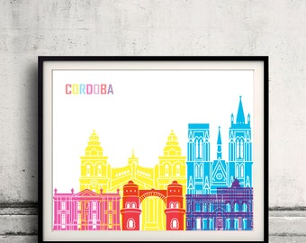 Cordoba AR skyline pop - Fine Art Print Glicee Poster Gift Illustration Pop Art Colorful Landmarks - SKU 2365