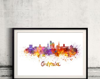 Gdynia skyline in watercolor over white background with name of city - Poster Wall art Illustration Print - SKU 2795