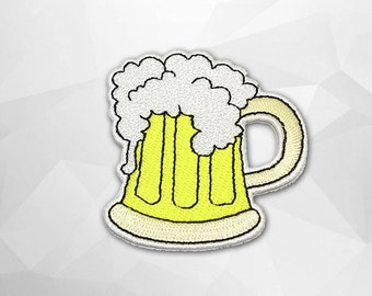 Beer Mug Iron on Patch(L1) - Frothy Beer Applique Embroidered Iron on Patch - Size 6.5x6.7 cm