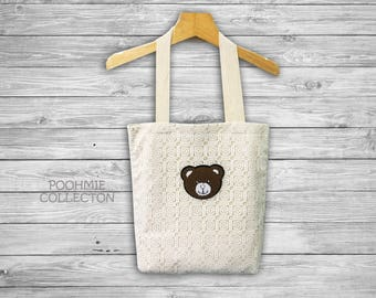 "White Lace Tote Bag with Bear, Fabrics Tote Bag, Vintage Bag -Size 14 1/2""(W)x16 1/2""(H)"