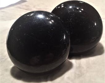 Pair of Black Glass Door Knobs
