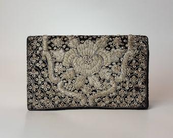 Vintage Indian Zardozi Silver Metallic Wirework Purse - 1950's Indian Black Velvet Clutch Bag Stumpwork Embroidery Evening Purse