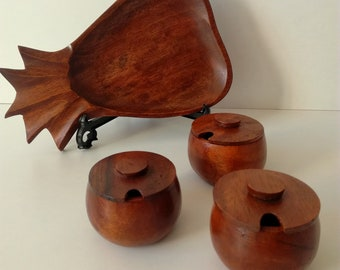 Hand Carved Wooden Tray & 3 Condiment Pots
