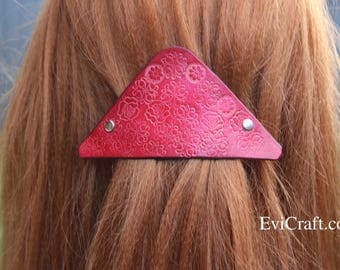 Leather French hair barrette, Handmade Tooled Leather Hair Clip, women Hair Accessory, red flower, Ponytail Holder, triangle