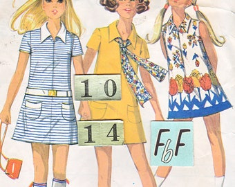 1970's Mod, Loose, Short, Mini Dress Sewing Pattern/ McCall's 2408 Teens, Womens drop waist dress/ Size 14 years