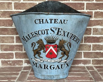 French Grape Harvesting Hod Basket - French Antique - French Country Home Decor - French Hotte - Antique Bucket - Metal Bucket - Brocante
