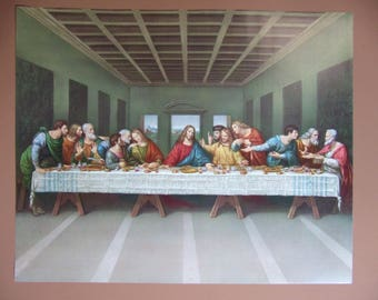 """The LAST SUPPER by di Vinci picture Catholic art print  - 20x16"""" - ready to be framed!"""
