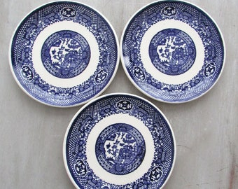 Small Plates, Vintage Plates, Plates, Ceramic Plates, Plates Ceramic, SCIO, SCIO Pottery, Blue Plates, Blue Willow, Blue Willow China