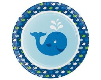 Whale Plates - Whale Baby Shower - Whale Party - First Birthday - Boy Baby Shower - Ocean Birthday - Boy First Birthday - Ocean Baby Shower