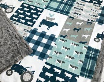 Farm Life Minky Blanket - Farm Blanket - Faux Quilt - Designer Minky - Grey