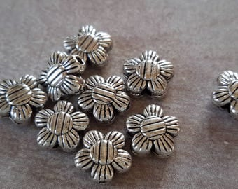 Beaded flowers, beads spacer flowers, silver, 8 mm