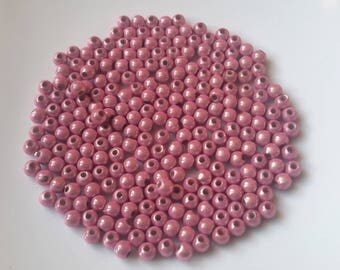 Pearls magic, magic spacer beads, round beads, acrylic beads, pink beads, 4 mm