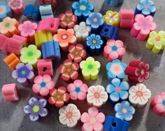 Multicolored flowers, flowers clay polymer flowers multicolor fimo, 5 mm beads
