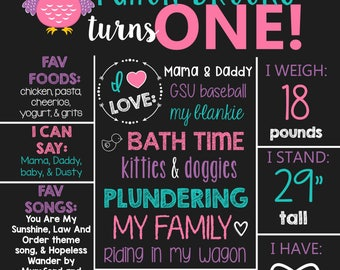 Look Who's Turning 1- Owl Theme Birthday Chalkboard Sign- Printable Birthday Chalkboard Poster- Birthday Board- Personalized Custom Sign