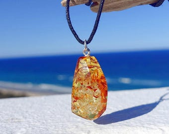 Amber Sterling Silver Pendant, Baltic Amber Jewelry, Amber Pendant Necklace
