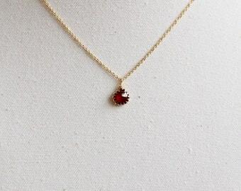 SALE Garnet Necklace - Garnet Necklace Gold, January Birthstone Necklace, Garnet Initial Necklace, Initial Necklace with Birthstone