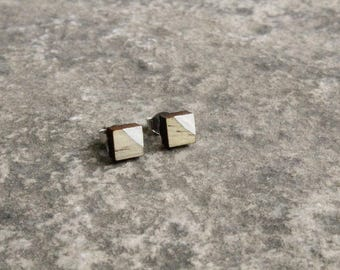 Painted Square Beetle Kill Pine Earrings