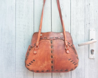 Vintage leather bag, Vintage women bag, bag photo shoots, props for photo sessions, red natural leather, free shipping