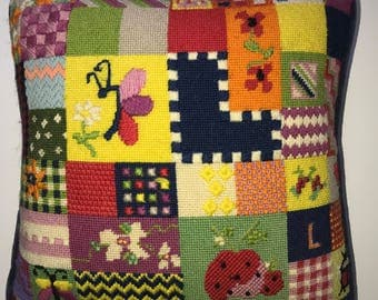 Vintage patchwork needlepoint pillow