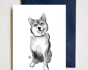 The Perfect Shiba Inu, Unique Sumi ink Painting Print Card, Animal Brush illustration B&W Asian Zen theme, Cute Dog lover Manga